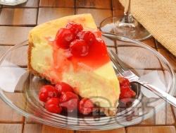 Кезекухен - сочен немски сладкиш (торта) с извара и сладко от череши - снимка на рецептата
